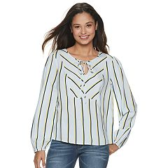 Juniors' Candie's® Twin Print Peasant Top