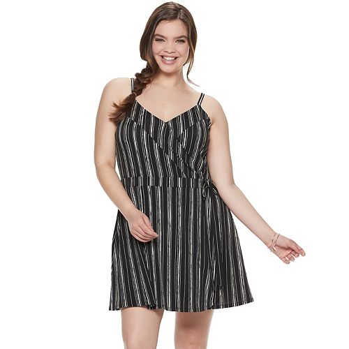 Juniors\' Plus Size Candie\'s® Wrap Romper Dress