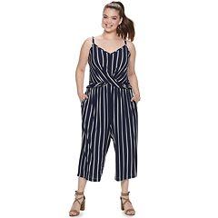 7b48ee8f069 Juniors  Plus Candie s® Crossover Knit Jumpsuit. Navy Stripe Animal