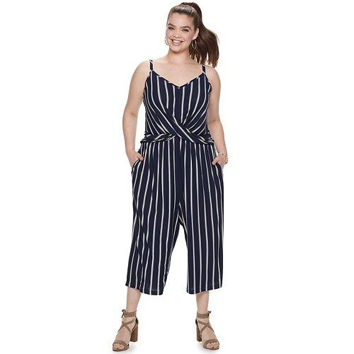 Juniors' Plus Candie's® Crossover Knit Jumpsuit