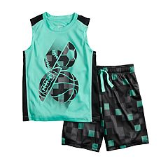 Boys 4-12 Jumping Beans® Sports Active Muscle Tee & Abstract Shorts Set