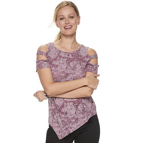 Women's Rock & Republic® Asymmetrical-Hem Cold-Shoulder Top