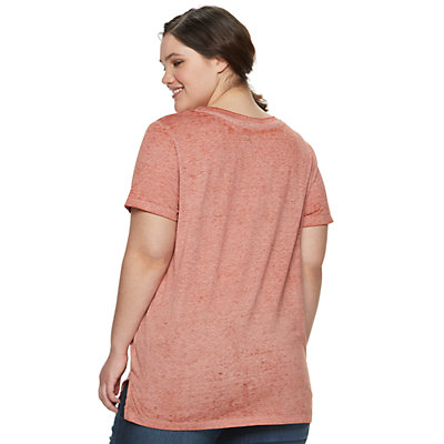 Juniors' Plus Size Mudd Burnout Tee
