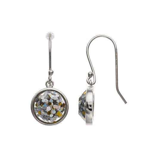 Aleure Sterling Silver Shaker Glitter Drop Earrings
