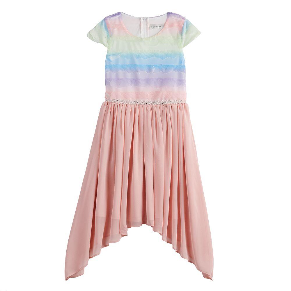 Girls 7-16 Lavender Shark-Bite Hem Dress