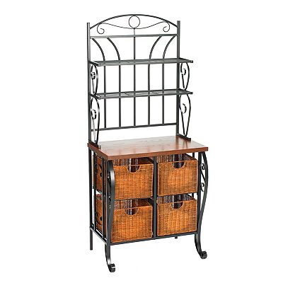 Iron and Wicker Baker's Rack