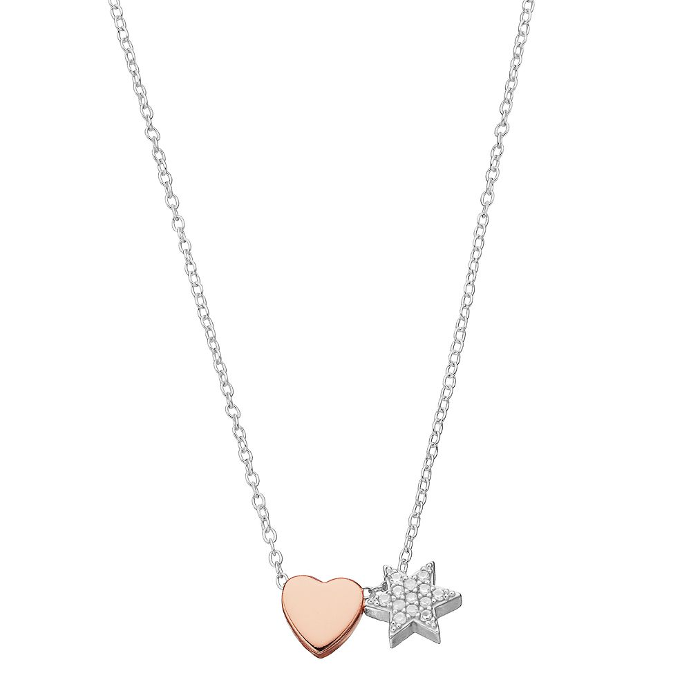 Close at Heart Two Tone Star & Heart Charm Necklace