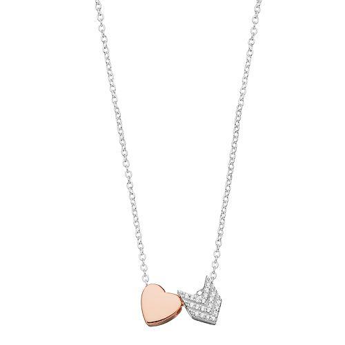 Close at Heart Chevron & Heart Charm Necklace