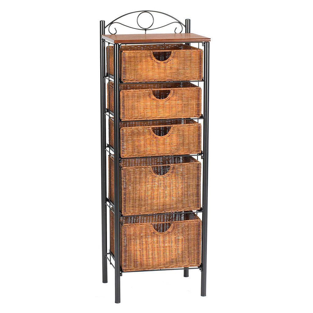 Iron and Wicker Narrow Storage Cabinet