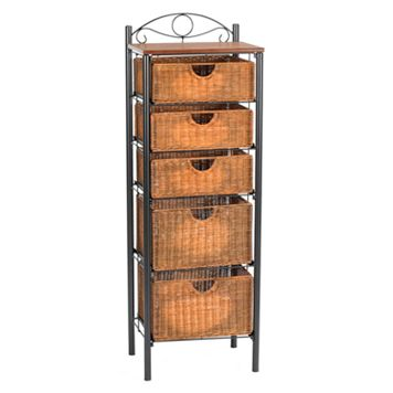 Iron and Wicker Narrow Storage Cabinet