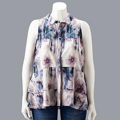 Plus Size Simply Vera Vera Wang Sleeveless Flounce Blouse