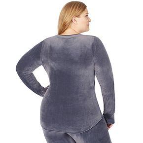 Women's Plus Cuddl Duds Double Plush Velour Long Sleeve Crew