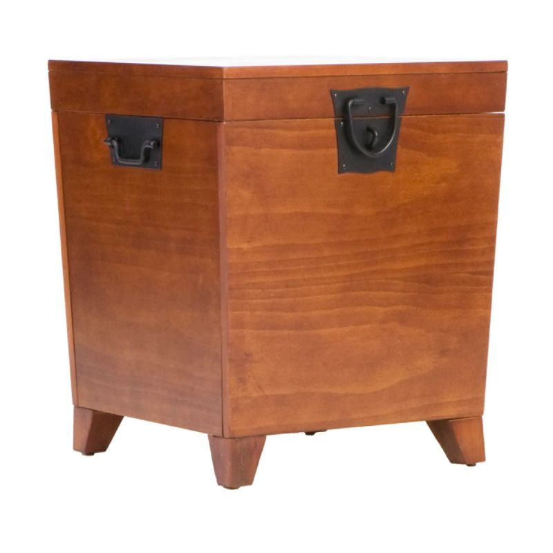 Pyramid Mission Trunk End Table, Brown