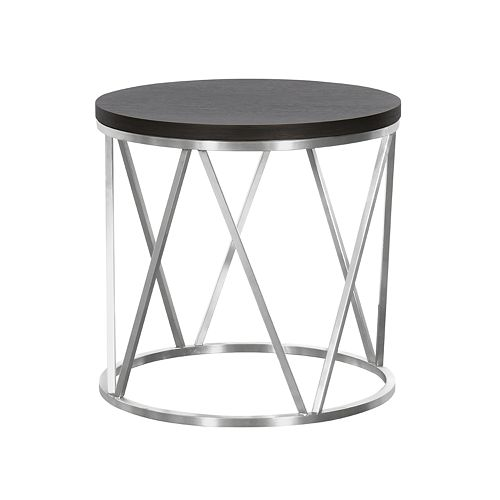 Armen Living Emerald Contemporary Round End Table