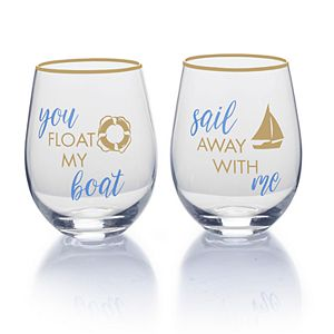 Mikasa Float My Boat 2-pc. Stemless Wine Glass Set