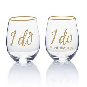Mikasa I Do 2-pc. Stemless Wine Glass Set