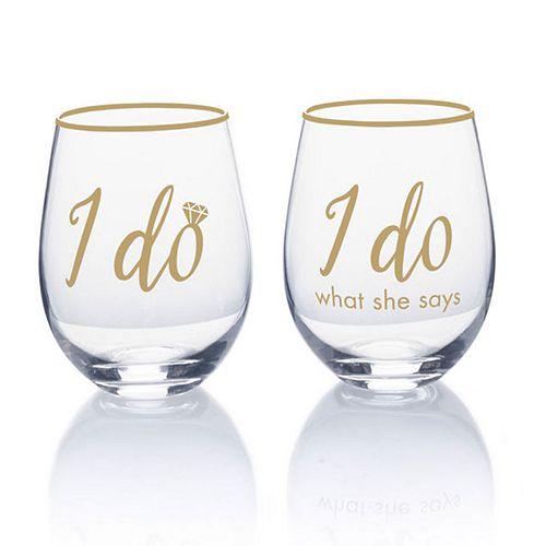Mikasa I Do 2-pc. Stemless Wine Glass Set