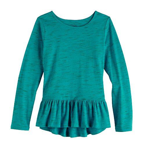 Girls 4-12 Jumping Beans® Long Sleeve Peplum-Hem Top