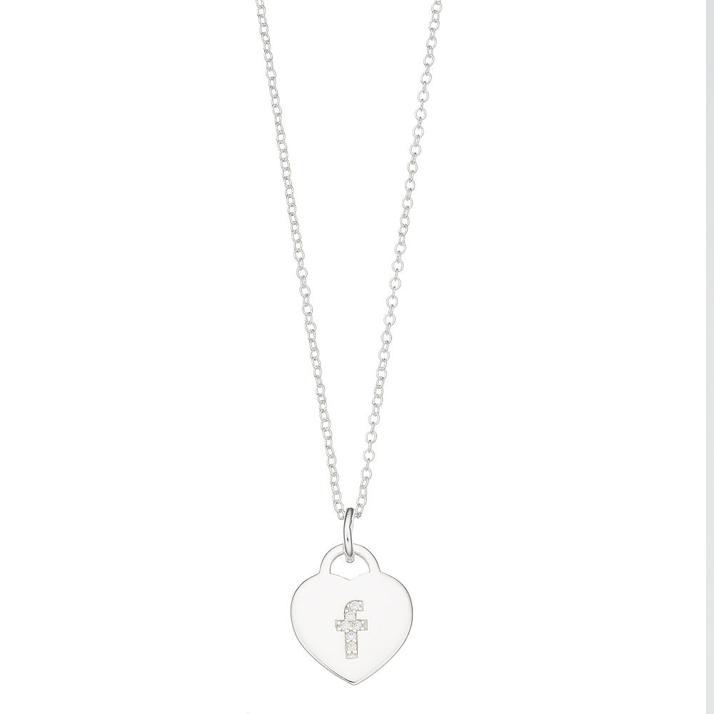 R LIM Cubic Zirconia Heart Initial Necklace