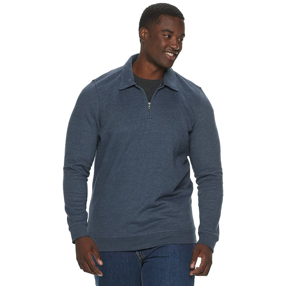 Big & Tall Croft & Barrow® Long Sleeved Quarter-Zip Pullover