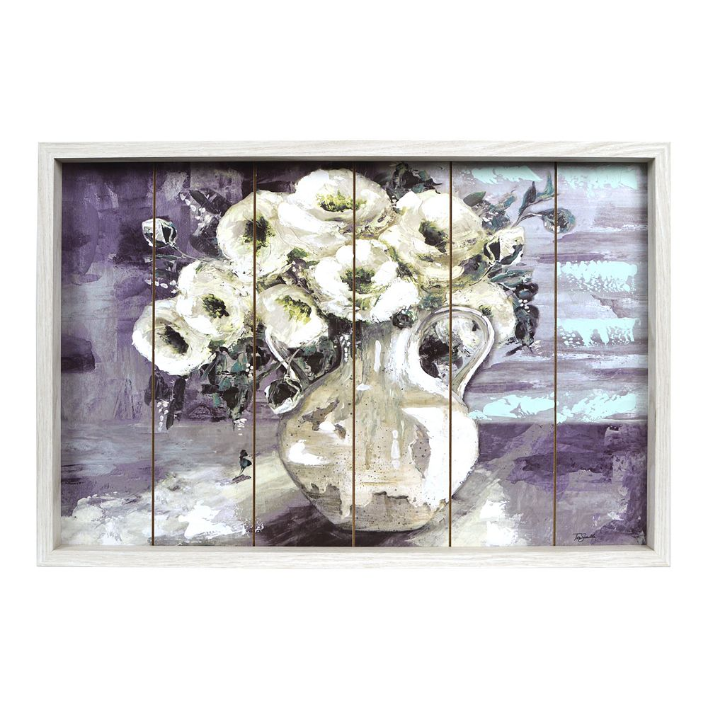 New View Gifts White Floral Boxed Frame Wall Art