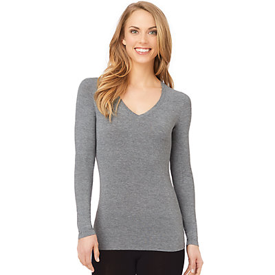 Women's Cuddl Duds Softwear with Stretch Long Sleeve V-Neck