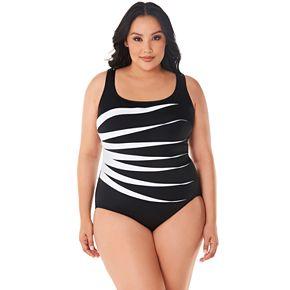 Plus Size Great Lengths Colorblock D-Cup One-Piece Swimsuit