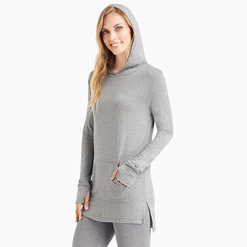 Women's Cuddl Duds Softwear with Stretch Long Sleeve Hoodie Tunic