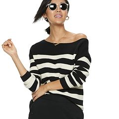 NEW! Women's POPSUGAR Striped Oversized Boatneck Sweater