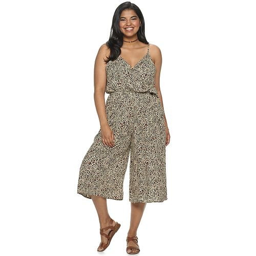 Juniors' Plus Size Mudd® Surplice Culotte Jumpsuit