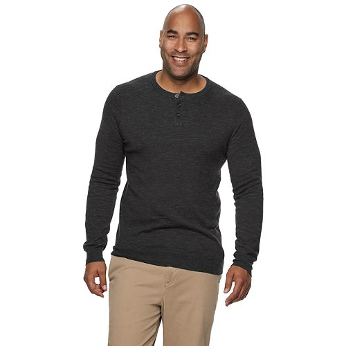 Big & Tall SONOMA Goods for Life® Knitted Henley Collar Pullover Sweater