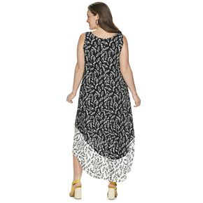 Plus Size EVRI Colorblock High-Low Midi Dress
