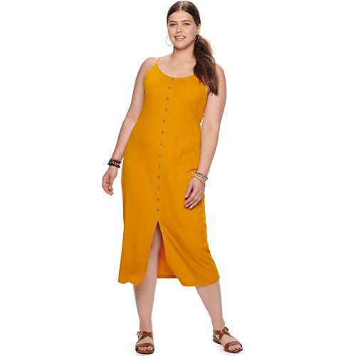 Juniors' Plus Size Mudd® Button Down Midi Dress