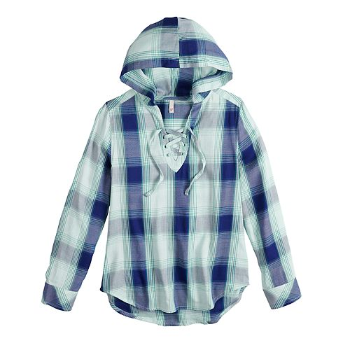 Girls 6-16 & Plus Size SO® Lace-Up Hooded Shirt