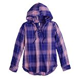 Girls 7-16 & Plus Size SO® Lace-Up Hooded Shirt