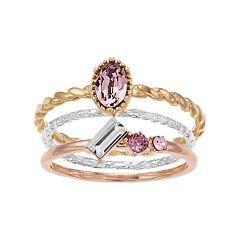 4b1735379 Women's Brilliance Tri-Tone Swarovski Crystals 3-Ring Stack