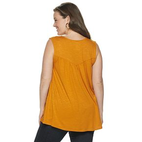 Plus Size EVRI Split Neck Tank