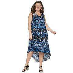 Plus Size EVRI High-Low Printed Midi Dress