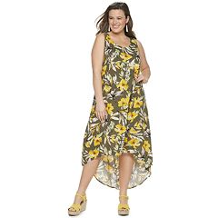 438465b07946 Plus Size EVRI High-Low Printed Midi Dress. Blue Tie Dye Olive Floral