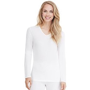 Women's Cuddl Duds Lace Edge Long Sleeve V-Neck
