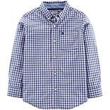 Boys 4-12 Carter's Gingham Poplin Button Down Shirt
