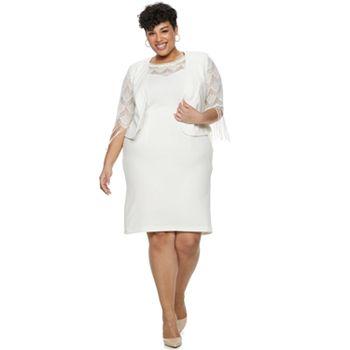 dac3cfa68f9f Plus Size Maya Brooke Fringe Lace Jacket & Dress Set