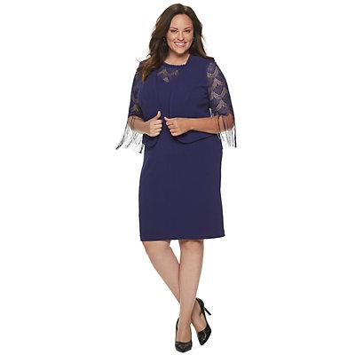 Plus Size Maya Brooke Fringe Lace Jacket & Dress Set
