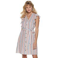Women's ELLE™ Flutter-Sleeve Shirt Dress