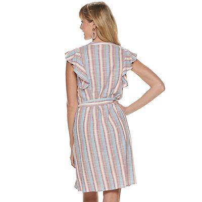 Women's ELLE? Flutter-Sleeve Shirt Dress
