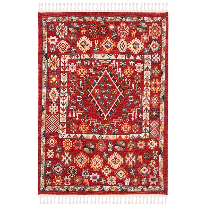 Freshen up your homestead with this inviting Safavieh Farmhouse Sarah rug. In red/ivory.FEATURES Durable loop pile CONSTRUCTION & CARE Polyester, cotton Transparent sprayed latex backing Pile height: 0.24\\\'\\\' Spot clean Imported Attention: All rug sizes are approximate and should measure within 2-6 inches of stated size. Pattern may also vary slightly. This rug does not have a slip-resistant backing. Rug pad recommended to prevent slipping on smooth surfaces. . Size: 5X7 Ft. Gender: unisex. Age Group: adult. Material: Polypropylene.