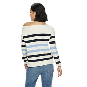 NEW! Women's POPSUGAR Striped Oversized Boatneck Sweater