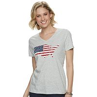 SONOMA Goods for Life Womens Patriotic V-neck Graphic Tee Deals