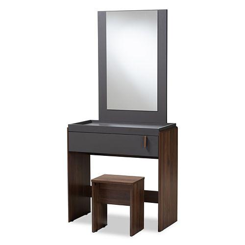 Baxton Studio Rikke Vanity Table and Stool Set