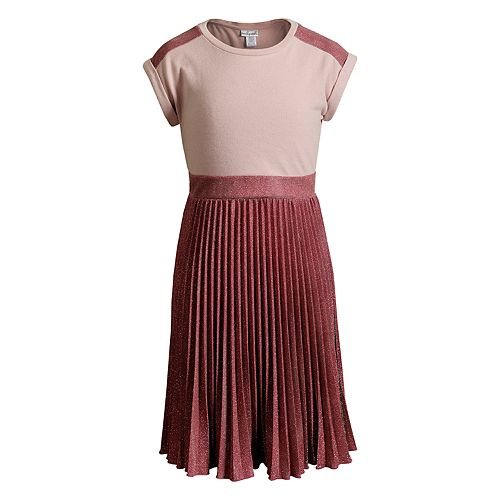 Girls 7-16 Emily West Glitter Pleated Knit Dress with Necklace